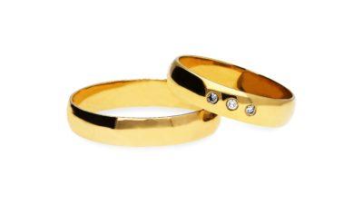 Obrączki klasyczne: Półokrągłe żółte złoto damska 4,5 mm + brylanty, męska 4,5 mm